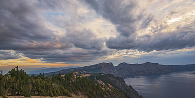 Stormy Skies Over Crater Lake Print by Loree Johnson