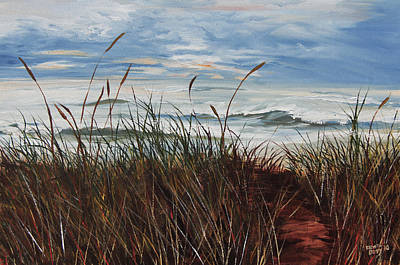 Stormy Sky Waves And Grass Print by Kevin Doty