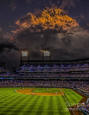 Citizens Bank Park Photograph - Stormy Sunset At The Baseball Game by Nick Zelinsky