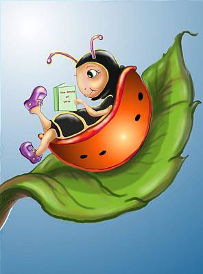 Ladybug Digital Art - Story Time by Hank Nunes