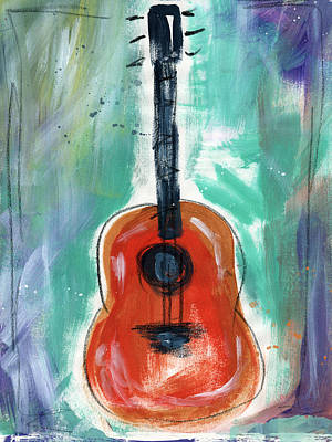 Expressionist Painting - Storyteller's Guitar by Linda Woods