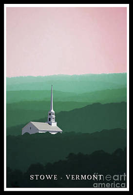 Lush Digital Art - Stowe Vermont Summer Poster by Edward Fielding