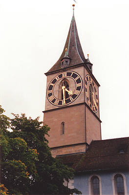 St.peter Church Clock In Zurich Switzerland Print by Susanne Van Hulst