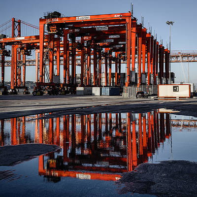 Car Carrier Photograph - Straddle Carriers Reflecting On Large Puddle II by Marco Oliveira