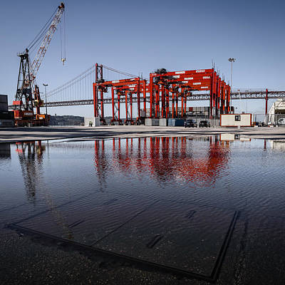 Car Carrier Photograph - Straddle Carriers Reflecting On Large Puddle by Marco Oliveira