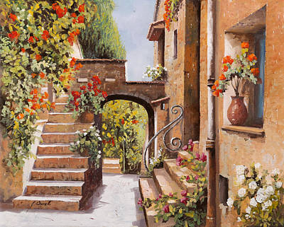 Sunny Painting - stradina di Cagnes by Guido Borelli