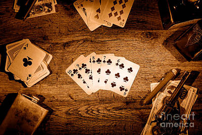 Old Western Photograph - Straight Flush - Sepia by Olivier Le Queinec