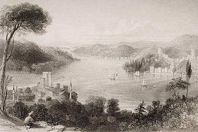 Castle Drawing - Straits Of The Bosphorous. Engraved By by Vintage Design Pics