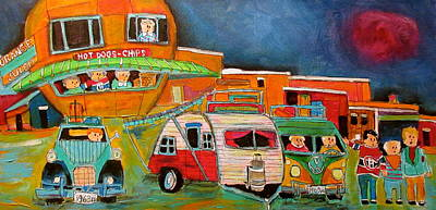 Litvack Naive Painting - Strange Friends At The Orange Julep by Michael Litvack