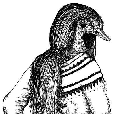 Ostrich Drawing - Strange Ostrich Lady by Karl Addison