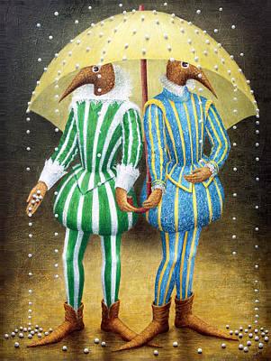 Birdman Painting - Strange Rain by Lolita Bronzini