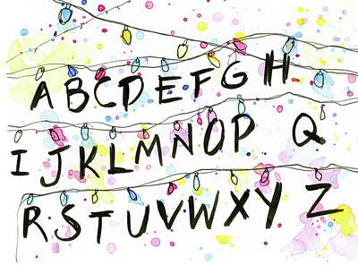 Science Fiction Mixed Media - Stranger Things Alphabet Christmas Lights by Olga Shvartsur