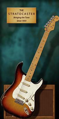 Robert Cray Digital Art - Stratocaster Anniversary 2 by WB Johnston