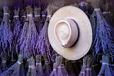 Classic Photograph - Straw Hat And French Lavender Bunches by Susan Candelario