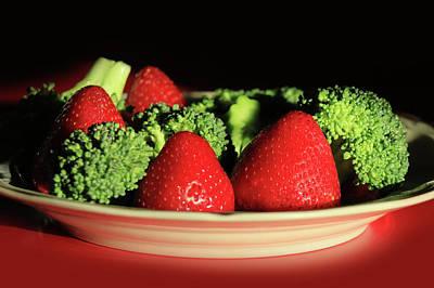 Broccoli Digital Art - Strawberries And Broccoli by Lori Deiter