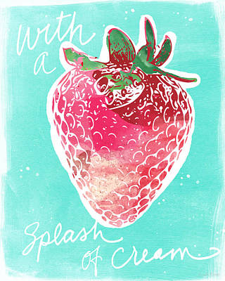 Red Fruit Painting - Strawberries And Cream by Linda Woods