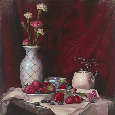 Blueberry Painting - Strawberries And Cream by Timothy Jones