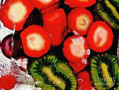 Kiwi Digital Art - Strawberries And Kiwi by Sarah Loft
