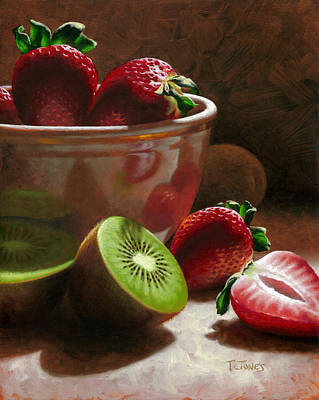 Kiwi Painting - Strawberries And Kiwis by Timothy Jones