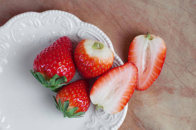 Strawberries From Above Print by Tom Mc Nemar