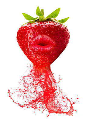 Surrealism Photograph - Strawberry Kiss by Prar Kulasekara