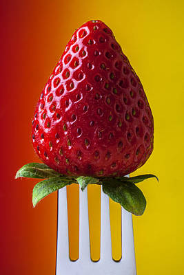 Strawberry On Fork Print by Garry Gay