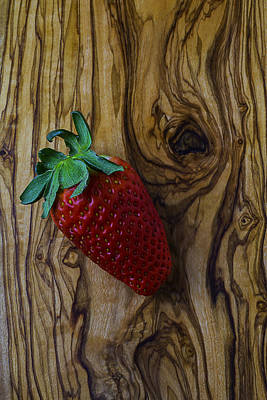 Strawberry On Wood Grain Board Print by Garry Gay