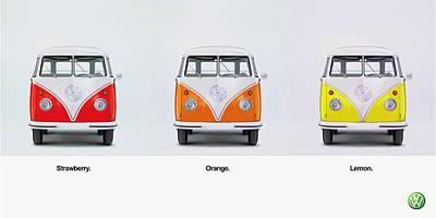 Vw Camper Van Photograph - Strawberry. Orange. Lemon. by Mark Rogan