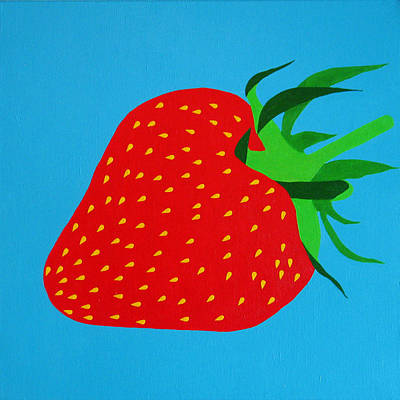 Of Cool Colors Painting - Strawberry Pop by Oliver Johnston