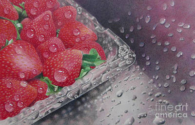 Strawberry Splash Print by Pamela Clements