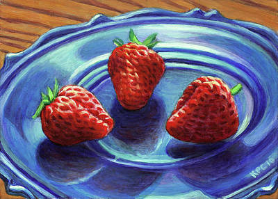 Rustic Painting - Strawberry Trio by Kenneth Cobb
