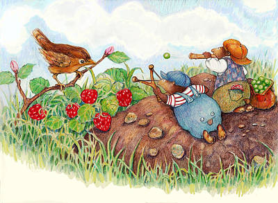 Wren Mixed Media - Strawberry Wars by Peggy Wilson