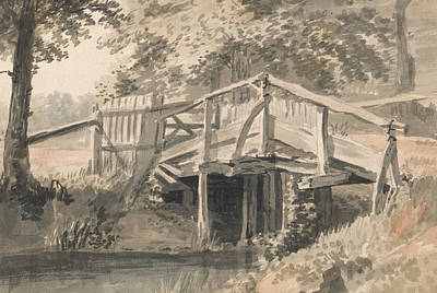Stream And Wooden Bridge Print by Paul Sandby