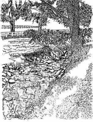 Stream Beside The Bookbinder's Shop Print by Dawn Boyer