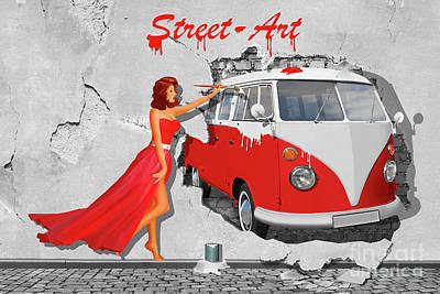 Street-art In Digital-art Print by Monika Juengling