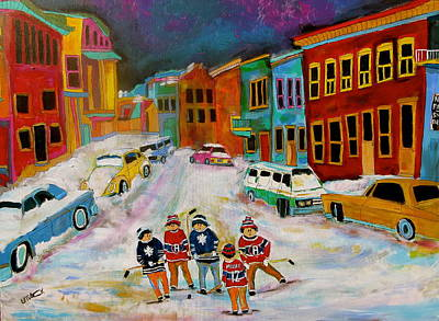 Street Hockey Montreal Memories Original by Michael Litvack