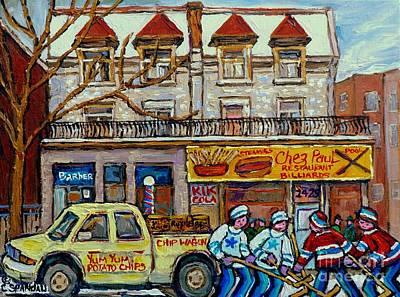 Street Hockey Pointe St Charles Winter  Hockey Scene Paul's Restaurant Quebec Art Carole Spandau     Print by Carole Spandau