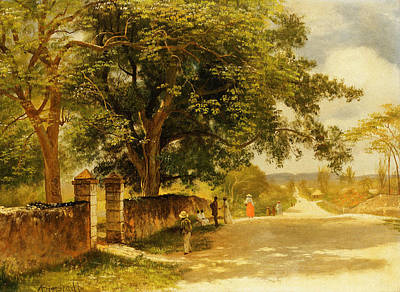 Long Street Painting - Street In Nassau by Albert Bierstadt