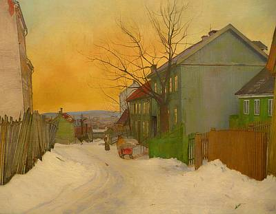 Snowy Trees Painting - Street In Oslo by Mountain Dreams