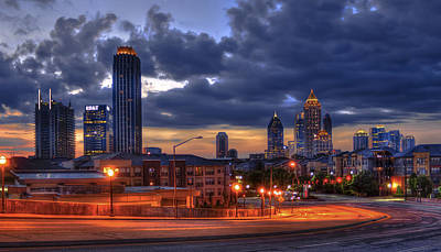 Welded Art Photograph - Street Lights At Atlantic Station Sunrise by Reid Callaway