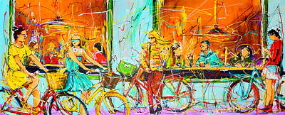 Street Of Amsterdam - Four Girls Print by Mathias