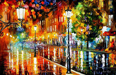 Street Of Illusions - Palette Knife Oil Painting On Canvas By Leonid Afremov Print by Leonid Afremov