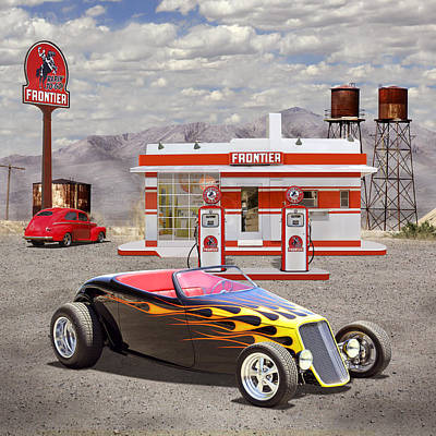 Street Rod At Frontier Station 2 Print by Mike McGlothlen
