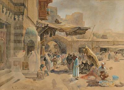 Gustav Bauernfeind Painting - Street Scene In Jaffa by Gustav Bauernfeind