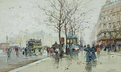 Horse Drawn Carriage Painting - Street Scene In Paris With Horse Drawn Carriages. by MotionAge Designs