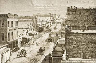 Old Street Drawing - Street Scene In Virginia City, Nevada by Vintage Design Pics