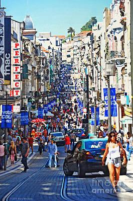 Busy Digital Art - Street Scene - Portugal by Mary Machare
