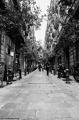 Streetlight Photograph - Streets Of Barcelona - Gothic Quarter by Andrea Mazzocchetti