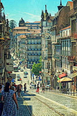 Streets Of Porto - Portugal 2  Print by Mary Machare