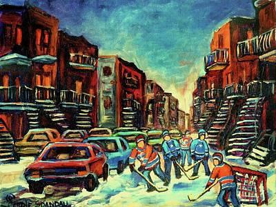Streetscenes Of Montreal Hockey Paintings By Montreal Cityscene Specialist Carole Spandau Print by Carole Spandau